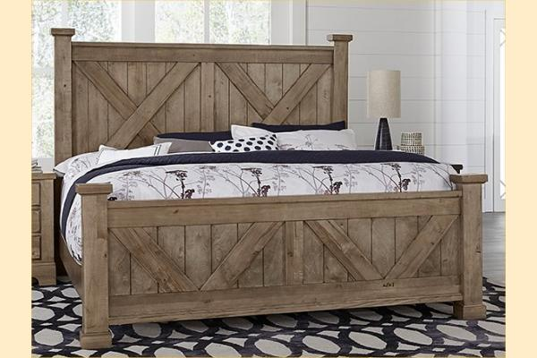 VB Artisan & Post  Cool Rustic-Stone Grey Queen X Bed W/ Matching Footboard
