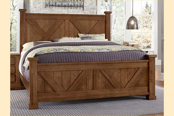 VB Artisan & Post  Cool Rustic-Amber Queen X Bed W/ Matching Footboard