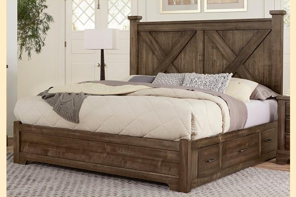 VB Artisan & Post  Cool Rustic-Mink Queen X Bed W/ One Side Storage