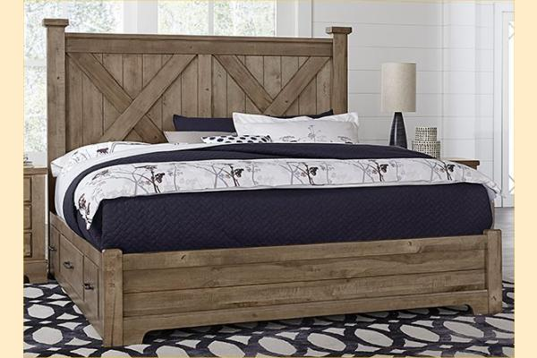 VB Artisan & Post  Cool Rustic-Stone Grey Queen X Bed W/ One Side Storage