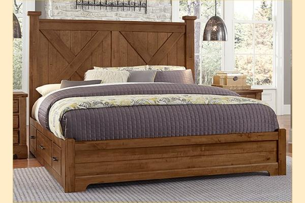 VB Artisan & Post  Cool Rustic-Amber Queen X Bed W/ Two Side Storage