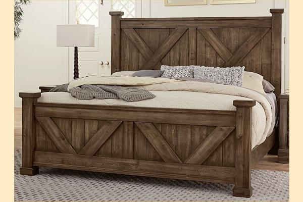 VB Artisan & Post  Cool Rustic-Mink Queen X Bed W/ Matching Footboard